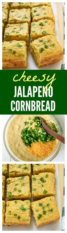 Cheesy Jalapeno Cornbread. Super tender and cheesy, but made with apple sauce, this healthy cornbread will be your go-to recipe!