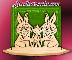 Wood Easter bunnies serviette holder