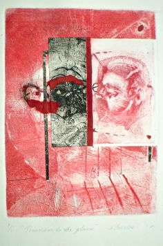ELAINE d'ESTERRE - Transition to the Glance, 1/1, 2010, intaglio, drypoint and chine-colle 25x18 cm print, 50x35 cm paper by Elaine d'Esterre at http://elainedesterreart.com and http://www.facebook.com/elainedesterreart/ and http://instagram.com/desterreart/