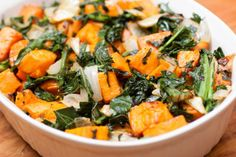 "Kale and Roasted Yams Salad - www.runnerchallenge.com   Prep Time: 20 Minutes  Cook Time: 20 Minutes  Ready In: 1 Hour 15 Minutes  Servings: 6   ""A bright contrast in flavors makes this salad a favorite among friends and family. The yams have a subtle sweetness that pairs nicely with the caramelized onions and kale.""  https://www.facebook.com/photo.php?fbid=10202789694374449&set=oa.226682400841437&type=3&theater"