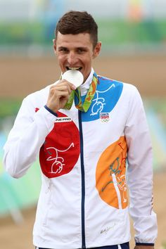 Silver medalist, Jaroslav Kulhavy of the Czech Republic, poses on the podium during the medal ceremony for the Men's Cross-Country on Day 16 of the Rio 2016 Olympic Games at Mountain Bike Centre on August 21, 2016 in Rio de Janeiro, Brazil.
