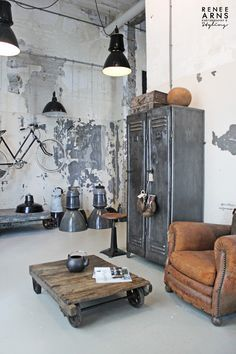 Quintessential mix of industrial and antique - vintage leather club chair next…