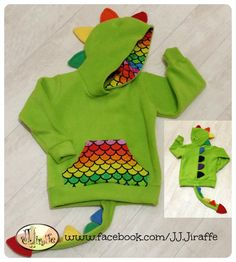 Complete the Dino look with an add on tail. Attaches with snaps on the bottom of your dino hoodie Please note this listing is for the tail add on only, and will only be sent with a dino hoodie order Dino Hoodies are available to purchase separately. Sewing Kids Clothes, Sewing For Kids, Diy Clothes, Latest Boys Fashion, Boy Fashion, Boys Wear, Little Dresses, Baby Dress, Boy Outfits