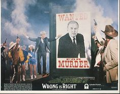 Vintage 8x10 Color Lobbycard Leslie Nielsen From The Movie Wrong Is Right 1982