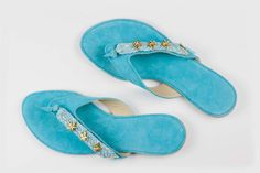 """Items similar to Jeweled leather sandal """"Sea Bliss"""" on Etsy Leather Sandals, Bliss, Slippers, Sea, Jewels, Trending Outfits, Unique Jewelry, Handmade Gifts, Etsy"""