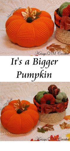 """It's so good to see you on """"My Side Of The Mountain""""! Let's crochet a Big Pumpkin! Decorating with these lovely Big Pumpkins is so much fun! Crochet Fall, Halloween Crochet, Holiday Crochet, Free Crochet, Crochet Pumpkin Pattern, Crochet Mandala Pattern, Crochet Patterns, Pumpkin Patterns, Crochet Ideas"""