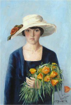 """Lillian Mathilde Genth (American 1876-1953) - """"Portrait of Lulu Hawkins"""", 1919"""