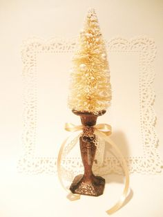 Items similar to Shabby Chic Christmas Bottle Brush Tree in Copper Candlestick Christmas Decorations Shabby Chic Christmas on Etsy Christmas Booth, Christmas Tree Design, Christmas Gift Decorations, Merry Christmas To All, Christmas Mantels, Christmas Candle, Christmas Scenes, Primitive Christmas, Christmas Tree Ornaments