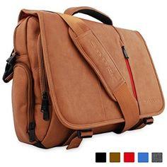 """Laptop Bag, Snugg™ - Crossbody Shoulder Messenger Bag in Brown Leather - Fits Laptops up to 15.6"""""""