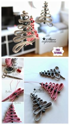 DIY Easy Ribbon Bead Christmas Tree Ornament tutorial with one ribbon and several beads to thread though an easy Christmas ornaments Christmas Tree Decorations Ribbon, Easy Christmas Ornaments, Simple Christmas, Rustic Christmas, Handmade Christmas, Christmas Tree Ornaments, Christmas Diy, Ornaments Ideas, Diy Christmas Hampers
