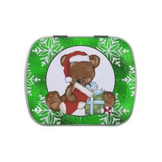Peppermint Bear Holiday Candy tin