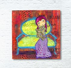 """Tess and Teddy"" Mixed Media Wood Canvas -- A little girl and her Teddy Bear grace a mixed media canvas.  #decoartprojects"