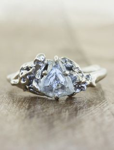 Unique Nature inspired rough diamond engagement rings by Ken & Dana Design