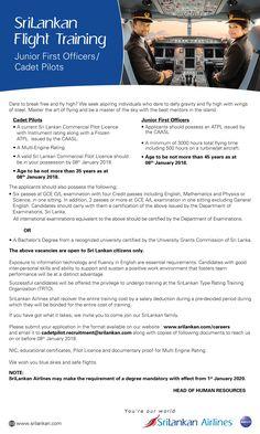 Government Job Vacancies, Gazette Job Vacancies in Sri Lanka: Cadet Pilot, Junior First Officer - Srilankan Airlines