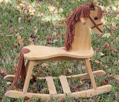 Rocking Horse - Solid wood with yarn mane