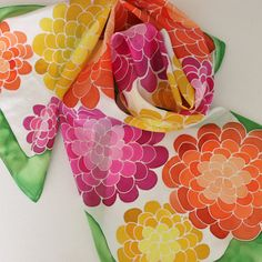 Hand Painted Silk Scarf - Handpainted Scarves Garden Kelly Green Magenta Pink Yellow Gold Orange Peach White Flowers Floral Hydrangea