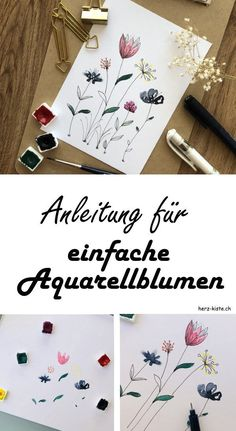 teubner zu Gast DIY tutorial for simple watercolor flowers. So you paint very simple easy watercolor flowers with watercolor paints and a fineliner. Are great for cards or as an embellishment for handlettering. Simple Watercolor Flowers, Easy Watercolor, Watercolour Painting, Watercolor Lettering, Painting Flowers, Draw Flowers, Watercolor Tutorials, Diy Painting, Tutorial Diy