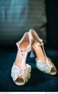 How gorgeous are these gold and turquoise wedding shoes? | Photographer: j. elizabeth photography | Shoes: BHLDN Bridal Shoes |