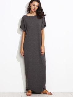 435b35c82bc Side Pocket Batwing Cocoon Maxi Dress -SheIn(Sheinside) Gray Dress