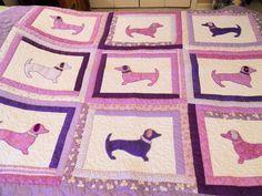 Custom Applique Dachshund Dog Quilt. $225.00, via Etsy.