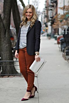 Navy, Stripes, Rust Orange, and a Pop of Burgundy
