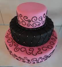 Resultado de imagem para bolos de aniversário de 15 anos rosa e preto