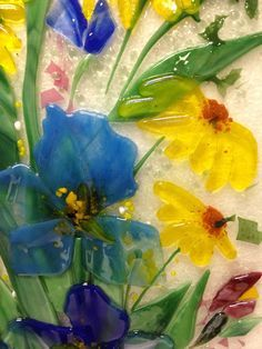 We created these two fused glass cabinet panels for our client in Michigan. Each panel is x The motif is floral featuring colorful blue irises and yellow daisies. Glass Wall Art, Sea Glass Art, Mosaic Glass, Mosaic Mirrors, Mosaic Art, Broken Glass Art, Shattered Glass, Glass Fusion Ideas, Glass Fusing Projects