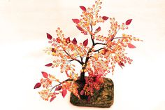 Tree Bead Fantasy Tropical tree , bonsai big cat in rain forest, orange red  flowers, strong roots, bark tree