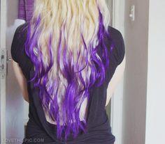 Blond and dark violet purple hair