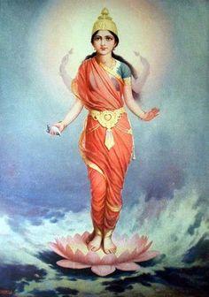 Lakshmi- Goddess of wealth Saraswati Goddess, Goddess Art, Art Magique, Indian Art Gallery, Lakshmi Images, Divine Mother, Mother Goddess, Ganesha Art, Indian Paintings