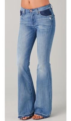 Colorblock Flare Jeans