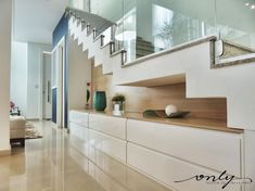 Take a look at this wonderful white staircase - what an original concept in 2020 Home Stairs Design, Interior Stairs, Interior Architecture, White Staircase, House Staircase, Modern Interior Design, Interior Design Living Room, Staircase Storage, Escalier Design