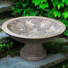 Campania International Falling Leaves Cast Stone Birdbath Copper Bronze - B-162-CB
