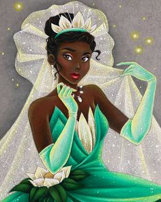 🌼 Here is Daisy! 🌼 I'm wicked happy with this gown ❤ All I really wanted to show was balance, and I felt like with that floral layer on… Disney Magic, Disney Art, Disney Pixar, Walt Disney, Disney Characters, Disney Princesses, Fictional Characters, Princess Tiana, Black Women Art