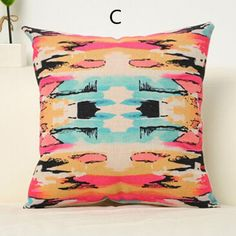 Pop art watercolor geometric throw pillow colorful abstract decorative pillows for couch