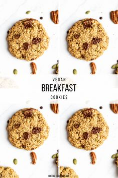Easy Protein-Packed Vegan Breakfast Cookies. These vegan oatmeal cookies are the perfect texture and consistency. They are simple to make, loaded with clean ingredients and vegan protein. #veganbreakfastcookies #trailmixcookies #plantbasedbreakfastideas #glutenfreebreakfastcookies #plantbasedsnacks #highproteinvegansnacks #healthyrecipes #veganuary