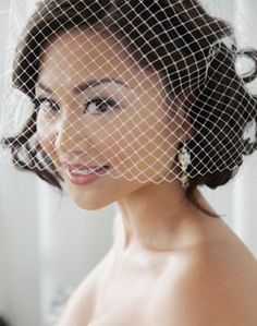 WeddingChannel Galleries: Short Bridal Hairstyle with Cage Veil