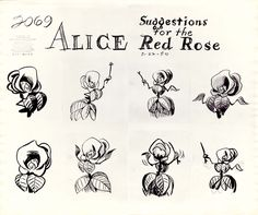 Vintage Disney Alice in Wonderland: Animation Model Sheet 350-8023 - Flower Suggestions for the Red Rose