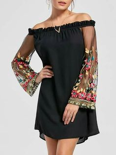 Elegant Party Dresses 2018 Spring Summer Off Shoulder Floral Loose Dress Embroidered Mesh Sleeve Dress Elegant Party Dresses, Casual Dresses, Outfit Vestido Negro, Straight Dress, Types Of Dresses, Embroidery Dress, Floral Embroidery, Country Dresses, Mesh Dress