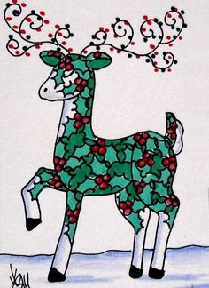 "Aceo Original  ""HOLLY DEER""  pencil/ink  #OutsiderArt"