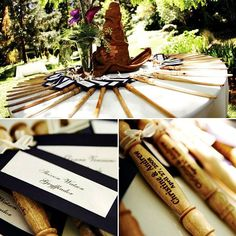 Potter-themed wedding: Sorting Hat centerpiece and wand place cards