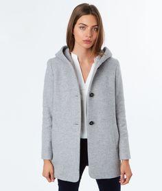 Manteau long homme gris chine