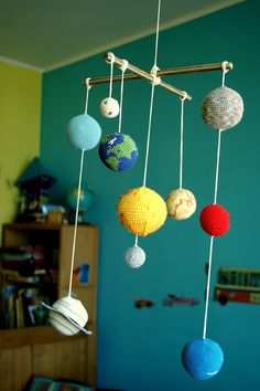 Solar System Planets Mobile - Crochet Baby Mobile - Educational Kids room decoration. Made to order