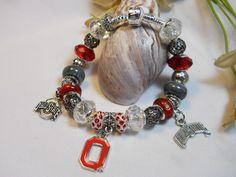 Ohio State Buckeyes Pandora Style Bracelet. $35.00, via Etsy.