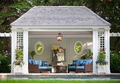 Garden structures, Pool shed, Garden gazebo, Pool Large Backyard Landscaping, House With Porch, Outdoor Rooms, Large Backyard, Pool Houses, Pool House Designs