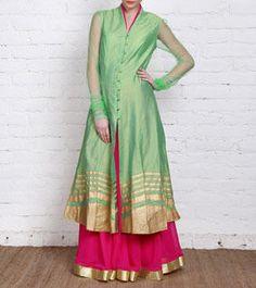 Green and Pink Cotton Silk & Georgette Lehenga Set