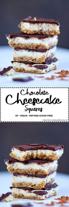 These Chocolate Cheesecake Squares are a little piece of heaven in each bite! They are absolutely perfect dessert for sharing with family or friends! Best of all they are gluten free, vegan and refined sugar free. Click the photo for the full recipe!