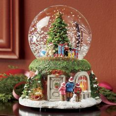 This is one of the most awesome snowglobes I've seen. Lighted Christmas Musical Snow Globe from Montgomery Ward® Musical Christmas Snow Globes, Christmas Mood, Xmas, Christmas Music Box, Snow Globe Crafts, Diy Snow Globe, Christmas Decorations, Christmas Ornaments, Halloween Decorations