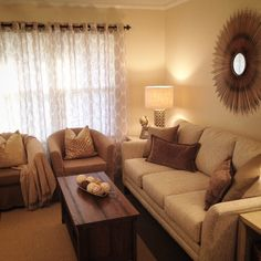 Calming and serene living room with creams, browns and taupes ...Sears House Designery