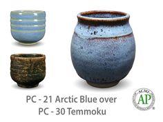 AMACO Potter's Choice layered glazes PC-30 Temmoku and PC-21 Artic Blue.